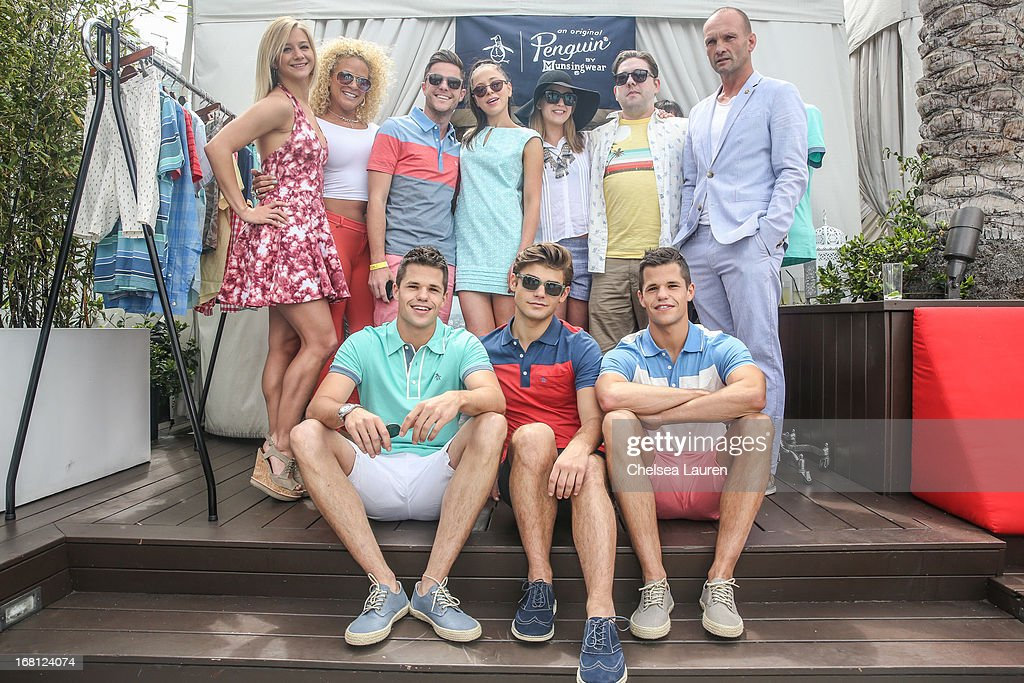 Mollee Gray, Blake Sunshine, publicist Nick Dane, Portia Doubleday, musician Allison Robertson, Penguin regional marketing manager Ryan Dansby and actor Andrew Howard (Bottom Row L-R) Actors Max Carver, Garrett Clayton and Charlie Carver attend the Original Penguin summer collection launch event at Drai's Hollywood on May 5, 2013 in Hollywood, California.