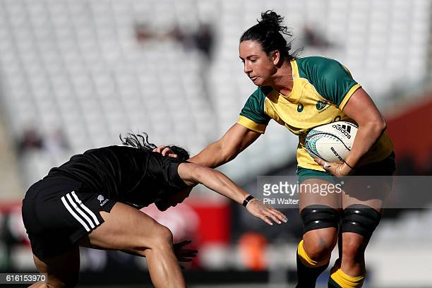 Mollie Gray of the Wallaroos is tackled during the international womens Test match between the New Zealand Black Ferns and the Australian Wallaroos...