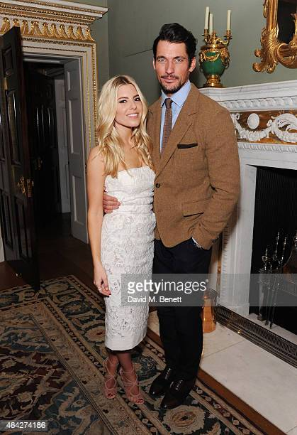 Mollie King and David Gandy attend the Creative London party hosted by the British Fashion Council and BPI at Spencer House on February 23 2015 in...