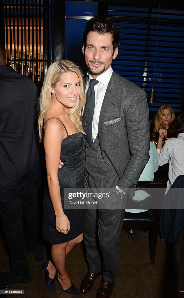 Mollie King and David Gandy attend the GQ London Collections Men AW15 closing dinner at Hakkasan Hanway Place on January 12 2015 in London England
