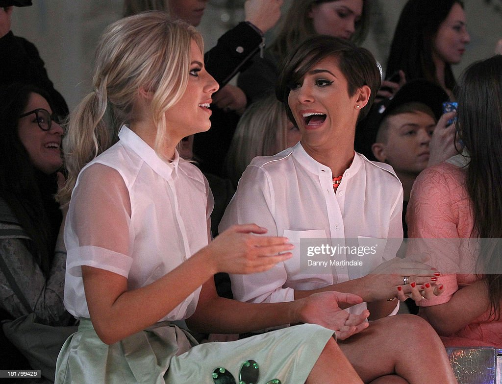 <a gi-track='captionPersonalityLinkClicked' href=/galleries/search?phrase=Mollie+King&family=editorial&specificpeople=5522262 ng-click='$event.stopPropagation()'>Mollie King</a> (L) and <a gi-track='captionPersonalityLinkClicked' href=/galleries/search?phrase=Frankie+Sandford&family=editorial&specificpeople=5523034 ng-click='$event.stopPropagation()'>Frankie Sandford</a> attend the Moschino cheap&chic show during London Fashion Week Fall/Winter 2013/14 at The Savoy Hotel on February 16, 2013 in London, England.