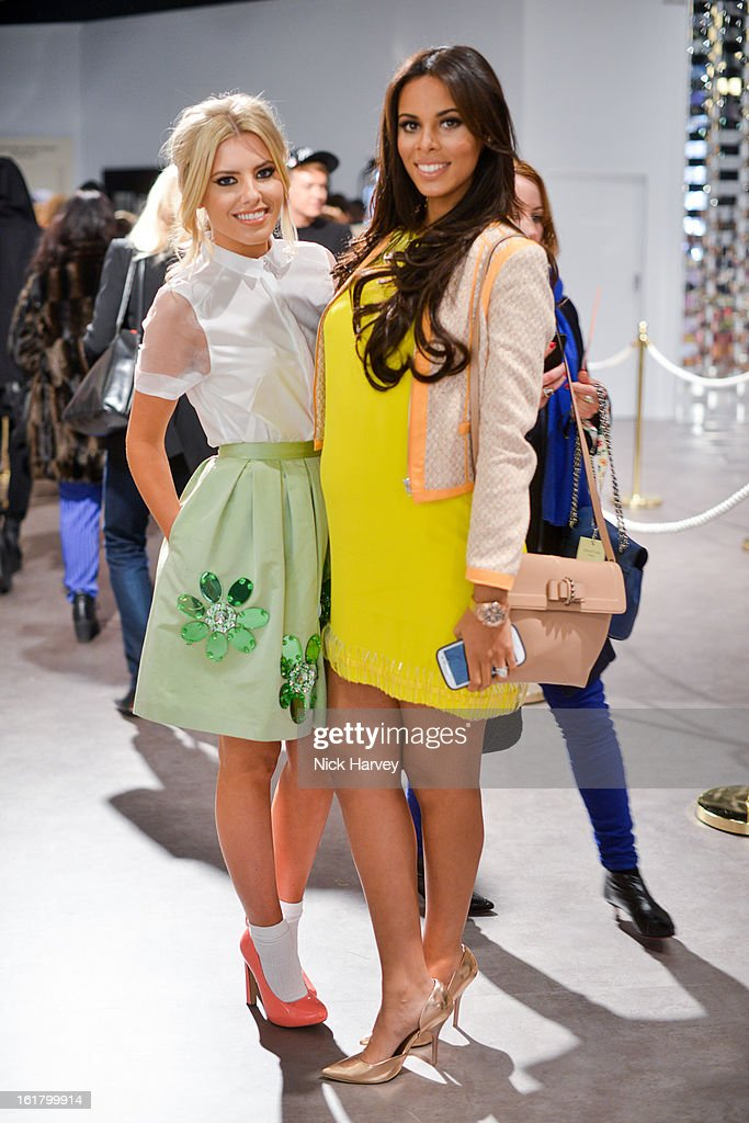 Mollie King (L) and Rochelle Wiseman attend the Issa London show during London Fashion Week Fall/Winter 2013/14 at Somerset House on February 16, 2013 in London, England.
