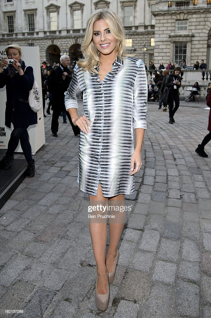 Mollie King arrives at Somerset House during London Fashion Week on February 19, 2013 in London, England.