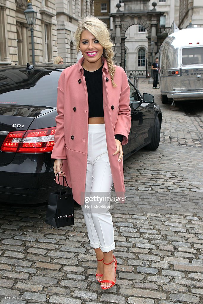 Mollie King arrives at Somerset House with Maybelline for Vodafone London Fashion weekend on September 20, 2013 in London, England.