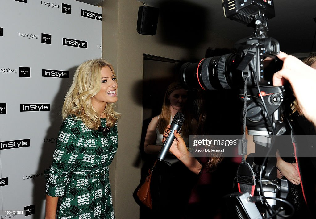 Mollie King (L) arrives at the InStyle Best Of British Talent party in association with Lancome and Avenue 32 at Shoreditch House on January 30, 2013 in London, England.