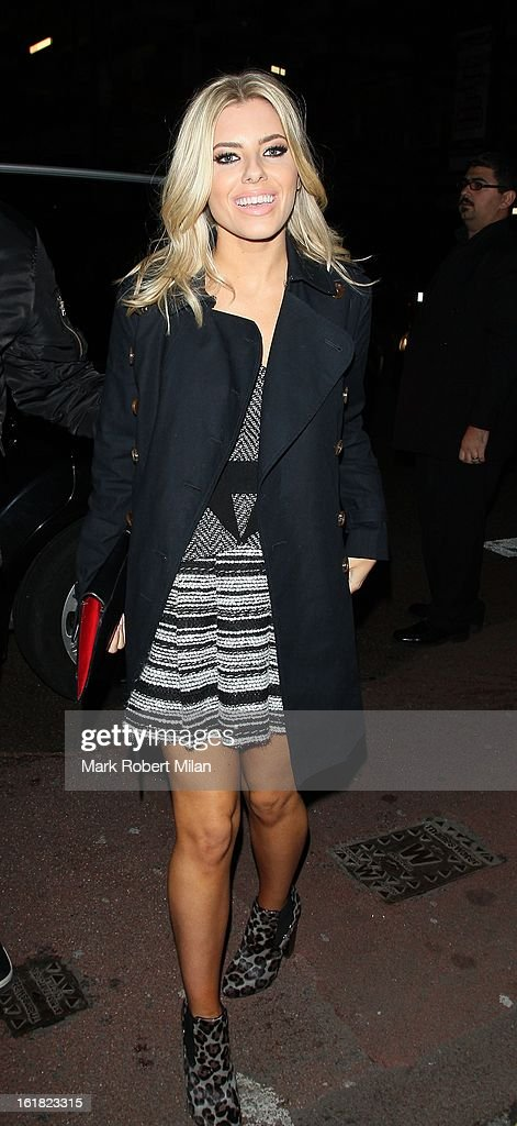 Mollie King is pictured arriving at at the Old Sorting House during London Fashion Week on February 16, 2013 in London, England.