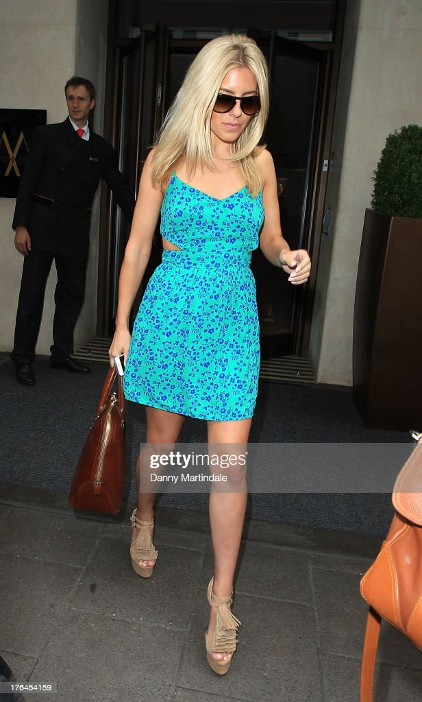 Mollie King is seen leaving the Mayfair Hotel on August 13, 2013 in London, England.