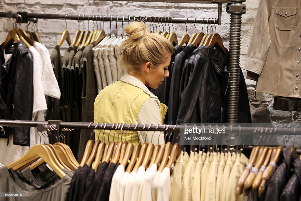 Mollie King is sighted shopping at All Saints on March 7, 2013 in London, England.