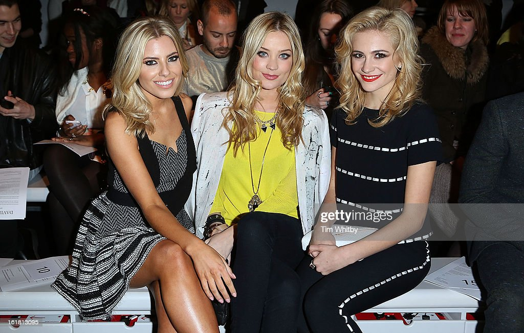 <a gi-track='captionPersonalityLinkClicked' href=/galleries/search?phrase=Mollie+King&family=editorial&specificpeople=5522262 ng-click='$event.stopPropagation()'>Mollie King</a>, <a gi-track='captionPersonalityLinkClicked' href=/galleries/search?phrase=Laura+Whitmore&family=editorial&specificpeople=5599316 ng-click='$event.stopPropagation()'>Laura Whitmore</a> and <a gi-track='captionPersonalityLinkClicked' href=/galleries/search?phrase=Pixie+Lott&family=editorial&specificpeople=5591168 ng-click='$event.stopPropagation()'>Pixie Lott</a> attend the David Koma show during London Fashion Week Fall/Winter 2013/14 at Somerset House on February 16, 2013 in London, England.