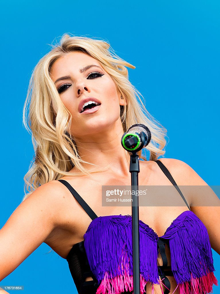 Mollie King of The Saturdays performs live on the Virgin Media Stage on day 2 of V Festival at Hylands Park on August 18, 2013 in Chelmsford, England.