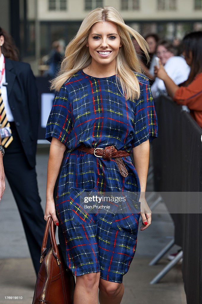 Mollie King of The Saturdays sighted at BBC Radio 1 on August 19, 2013 in London, England.
