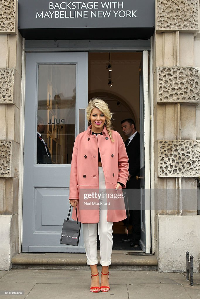 <a gi-track='captionPersonalityLinkClicked' href=/galleries/search?phrase=Mollie+King&family=editorial&specificpeople=5522262 ng-click='$event.stopPropagation()'>Mollie King</a> poses at Somerset House with Maybelline for Vodafone London Fashion weekend on September 20, 2013 in London, England.