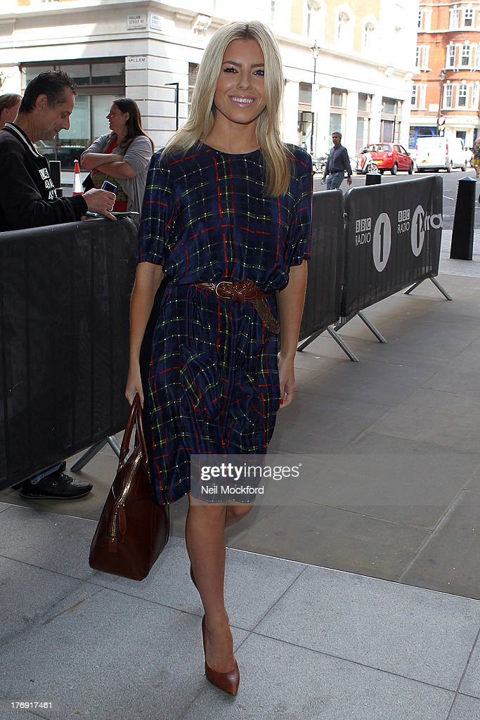 Mollie King seen arriving at BBC Radio One on August 19, 2013 in London, England.