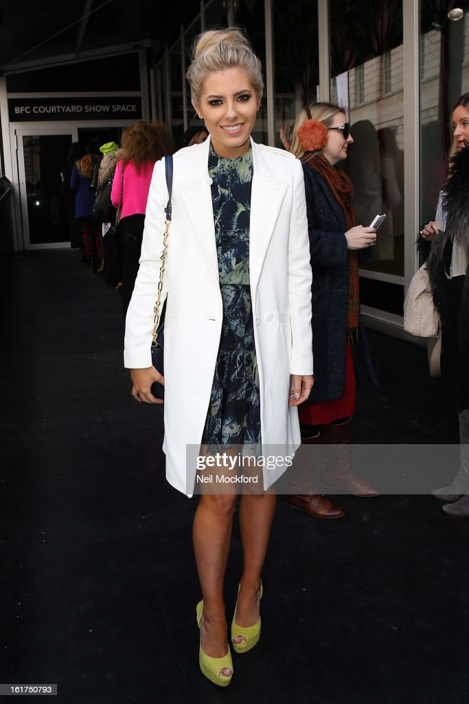 Mollie King seen at Somerset House on Day One of Fashion Week on February 15, 2013 in London, England.