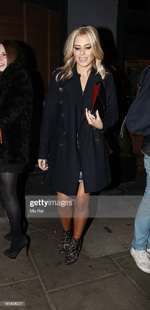<a gi-track='captionPersonalityLinkClicked' href=/galleries/search?phrase=Mollie+King&family=editorial&specificpeople=5522262 ng-click='$event.stopPropagation()'>Mollie King</a> seen leaving the House of Holland after party during London Fashion Week on February 16, 2013 in London, England.