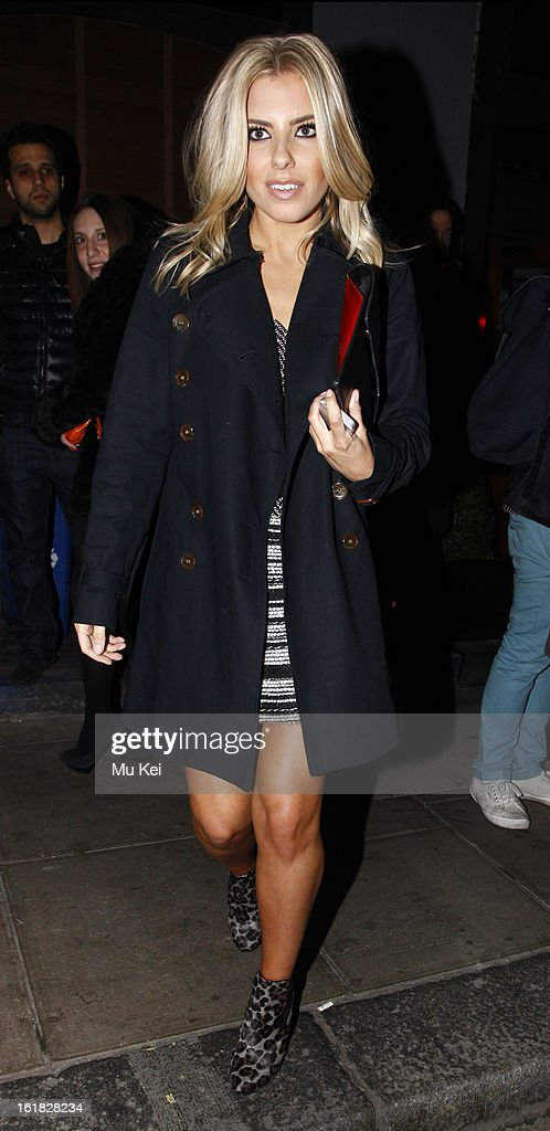 Mollie King seen leaving the House of Holland after party during London Fashion Week on February 16, 2013 in London, England.