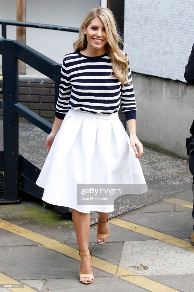 Mollie King sighted at the ITV Studios April 9 2014 in London England