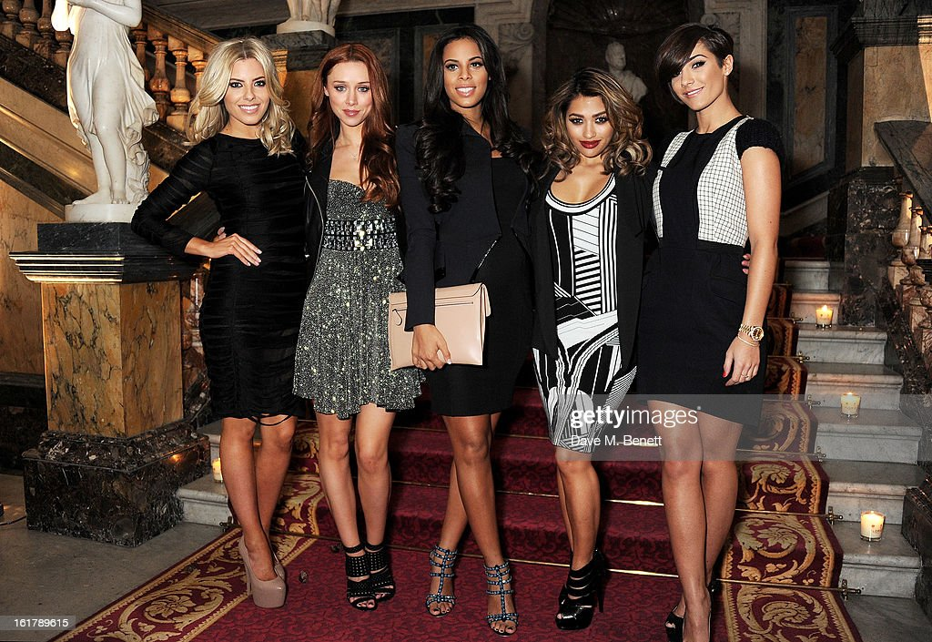 Mollie King, Una Healy, Rochelle Wiseman, Vanessa White and Frankie Sandford of The Saturdays attend the Julien Macdonald show during London Fashion Week Fall/Winter 2013/14 at Goldsmiths' Hall on February 16, 2013 in London, England.