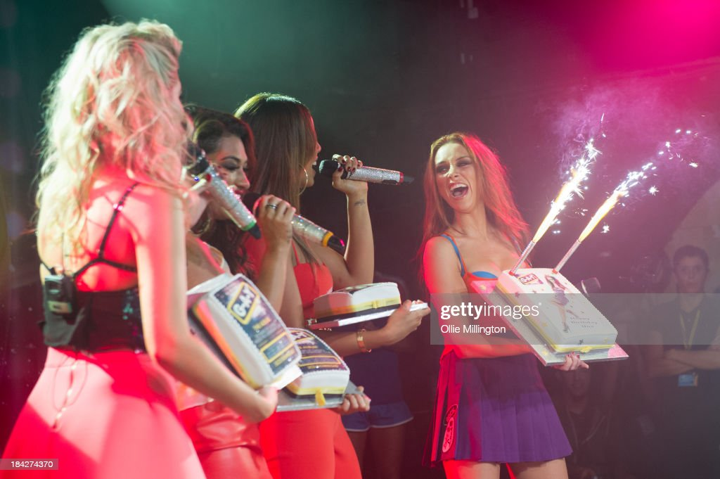 Mollie King, Vanessa White, Rochelle Humes and Una Healy of The Saturdays perform at G-A-Y on October 12, 2013 in London, England.