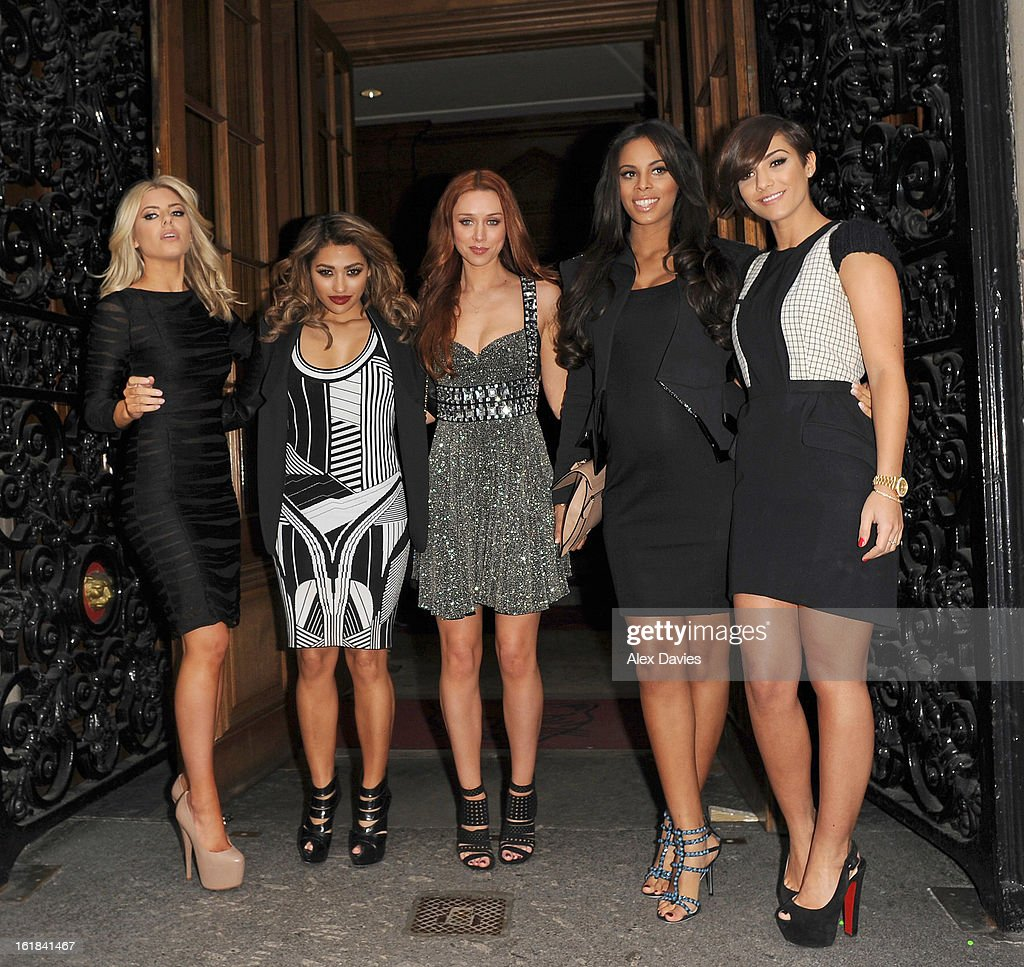 Mollie King, Vannessa White, Una Healey, <a gi-track='captionPersonalityLinkClicked' href=/galleries/search?phrase=Rochelle+Wiseman&family=editorial&specificpeople=2118967 ng-click='$event.stopPropagation()'>Rochelle Wiseman</a> and Frankie Sanford of The Saturdays are sighted as they leave the Julien Macdonald Fashion show on February 16, 2013 in London, England.