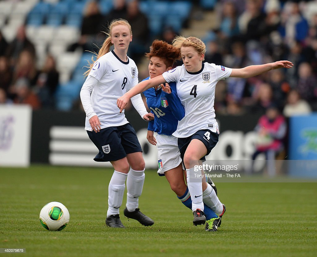 Mollie Rouse of England holds off a challenge from Federica Rizza of Italy for the ball during the UEFA Womens U17 Championship Finals match between England and Italy at the AFC Telford New Bucks Head Stadium on November 26, 2013 in Telford, England.