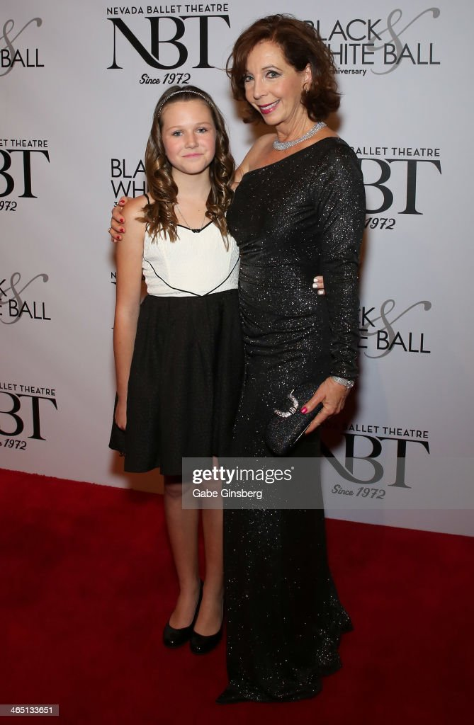 Molly Bergman (L) and her mom, actress and comedian Rita Rudner arrive at Nevada Ballet Theatre presents 'The Black & White Ball's 30th Anniversary' at the Aria Resort & Casino at CityCenter on January 25, 2014 in Las Vegas, Nevada.