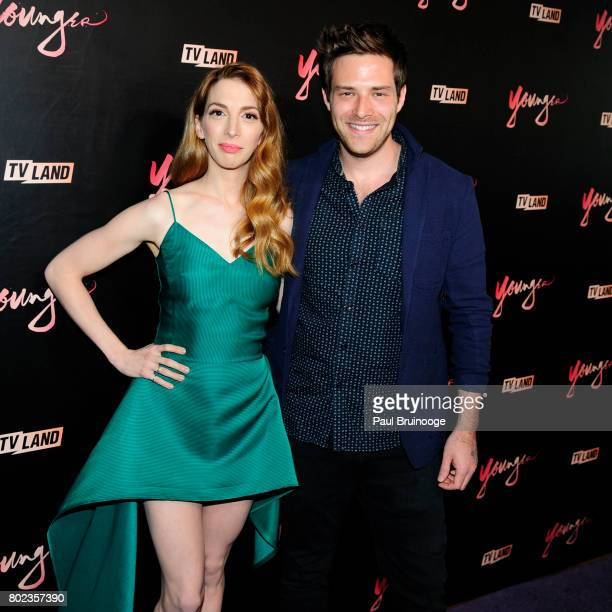 Molly Bernard and Ben Rappaport attend 'Younger' season four premiere party at Mr Purple on June 27 2017 in New York City