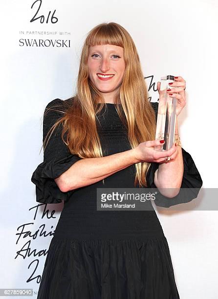 Molly Goddard winner of the British Emerging Talent award poses at The Fashion Awards 2016 at Royal Albert Hall on December 5 2016 in London England