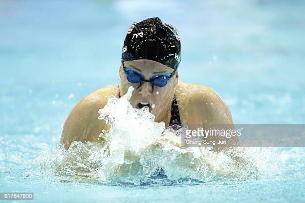 Molly Hannis of United States competes in the Women's 100m Breaststroke Heats on the day one of the FINA Swimming World Cup 2016 Tokyo at Tokyo...
