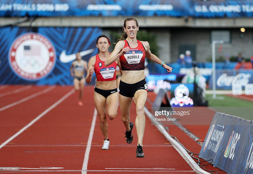 Molly Huddle crosses the finishline to place first in the Women's 5000 Meter Final during the 2016 US Olympic Track Field Team Trials at Hayward...
