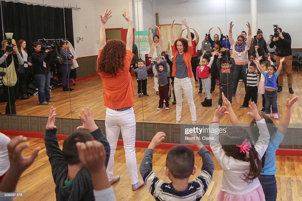Molly Jackson (C) performs with the Children of the Garden of Dreams Foundation during the Sesame Street Live Dance Class held at Ripley Greer Studios on February 10, 2016 in New York City.