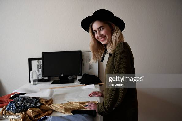 Molly OBrien 17 a senior at Rocky Mountain High School in Fort Collins in the family basement and workroom operates her fashion line under her label...