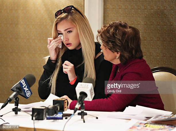 Molly O'Malia and her attorney Gloria Allred speak during a press conference to respond to OK Magazine's December 28 2015 cover story that allegedly...
