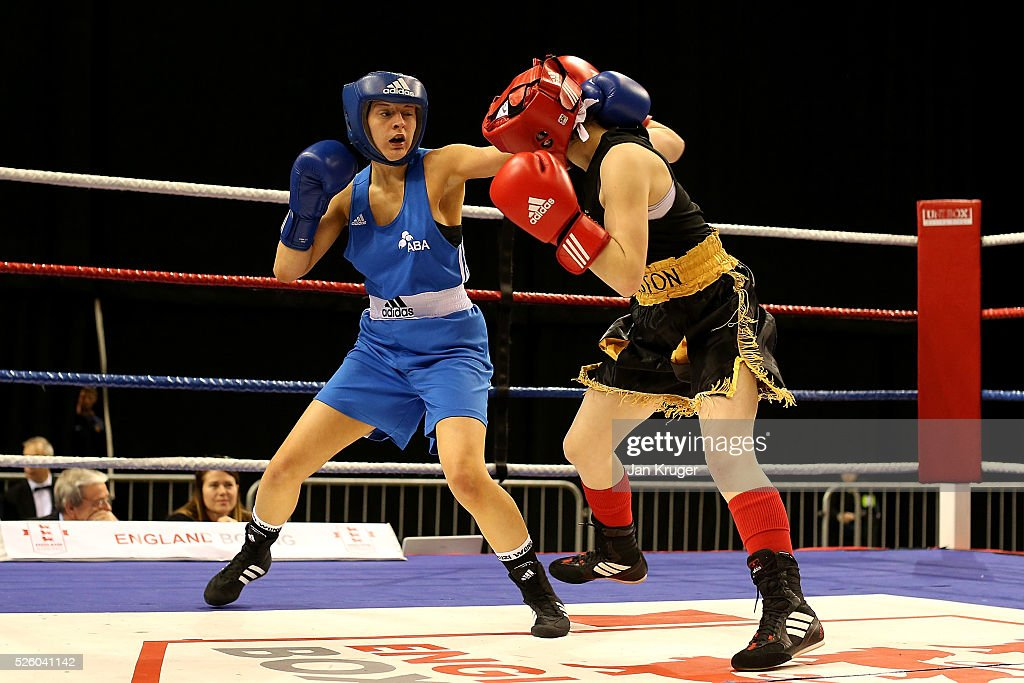 Molly Perkins(red) in action against Adrianna Finch in their 48kg fight during day one of the Boxing Elite National Championships at Echo Arena on April 29, 2016 in Liverpool, England.