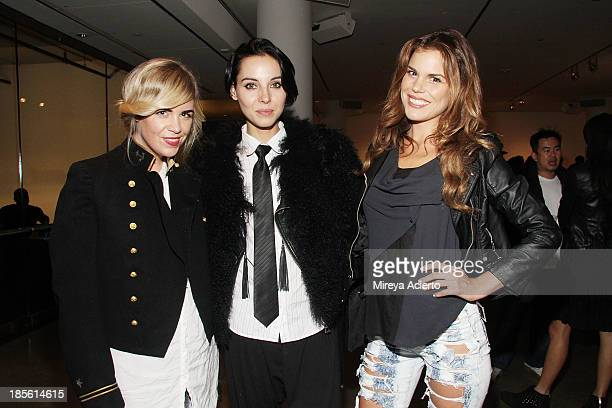 Molly Peters Holly Kiser and Rosalind Lipsett attend A Milk Gallery Project Presents BG BOOM Dusan Reljin at Milk Studios on October 22 2013 in New...