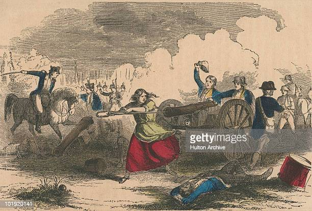 Molly Pitcher stokes a cannon at the Battle of Monmouth New Jersey during the American War of Independence 28th June 1778 Molly Pitcher is general...