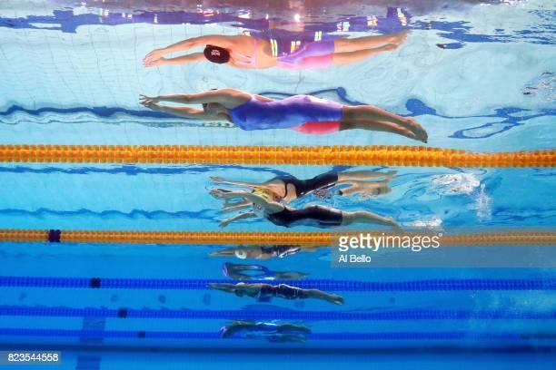 Molly Renshaw of Great Britain Taylor Mckeown of Australia Rikke Pedersen of Denmark Yuliya Efimova of Russia and Satomi Suzuki of Japan compete...