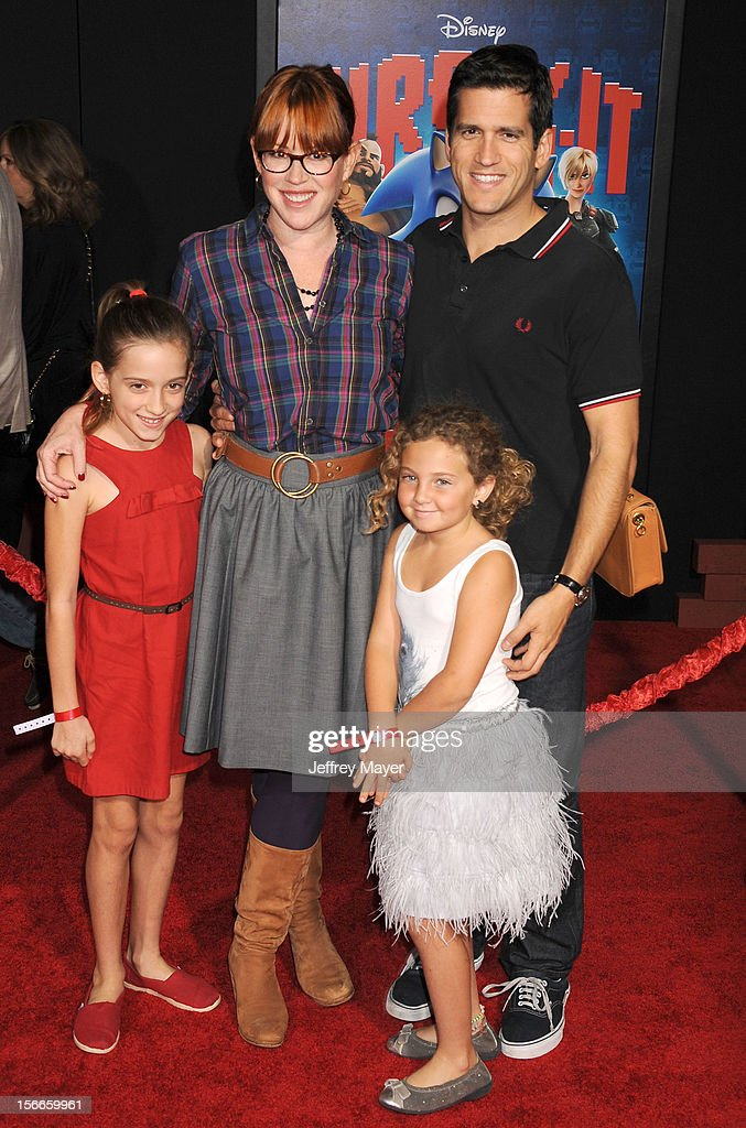 Molly Ringwald, Panio Gianopoulos and children arrive at the Los Angeles premiere of 'Wreck-It Ralph' at the El Capitan Theatre on October 29, 2012 in Hollywood, California.