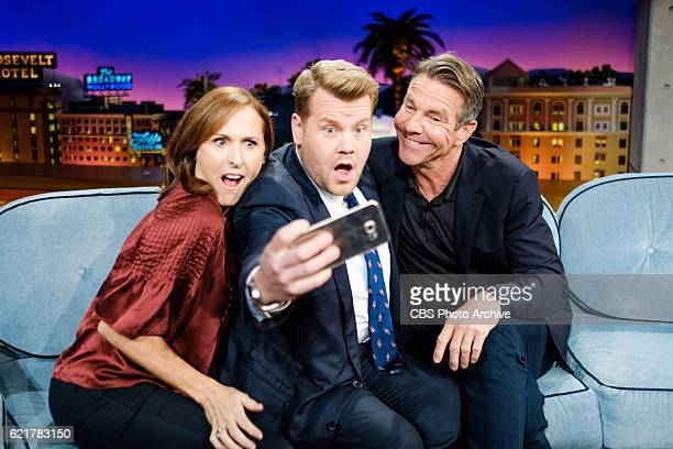 Molly Shannon and Dennis Quaid chat with James Corden during 'The Late Late Show with James Corden' Monday November 7 2016 On The CBS Television...