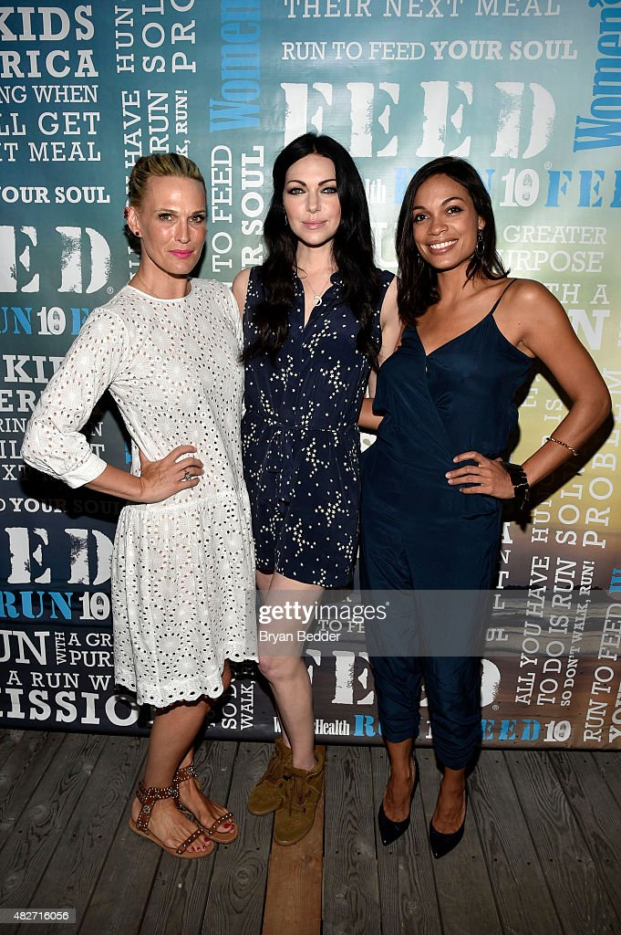 Molly Simms, Laura Prepron and Rosario Dawson attends the Women's Health's 4th annual party under the stars for RUN10 FEED10 on August 1, 2015 in Bridgehampton, New York.