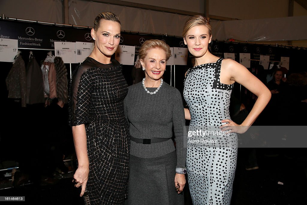 <a gi-track='captionPersonalityLinkClicked' href=/galleries/search?phrase=Molly+Sims&family=editorial&specificpeople=202547 ng-click='$event.stopPropagation()'>Molly Sims</a>, Carolina Herrera and <a gi-track='captionPersonalityLinkClicked' href=/galleries/search?phrase=Maggie+Grace&family=editorial&specificpeople=213706 ng-click='$event.stopPropagation()'>Maggie Grace</a> pose backstage at the Carolina Herrera Fall 2013 fashion show during Mercedes-Benz Fashion Week at The Theatre at Lincoln Center on February 11, 2013 in New York City.
