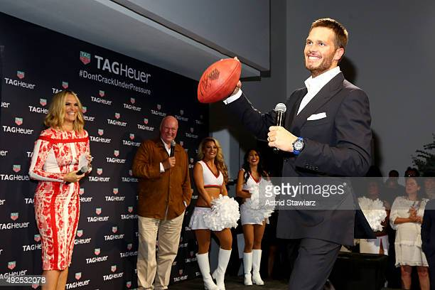 Molly Sims JeanClaude Biver and Tom Brady appear on stage as TAG Heuer announces Tom Brady as the new brand ambassador and launches the new Carrera...