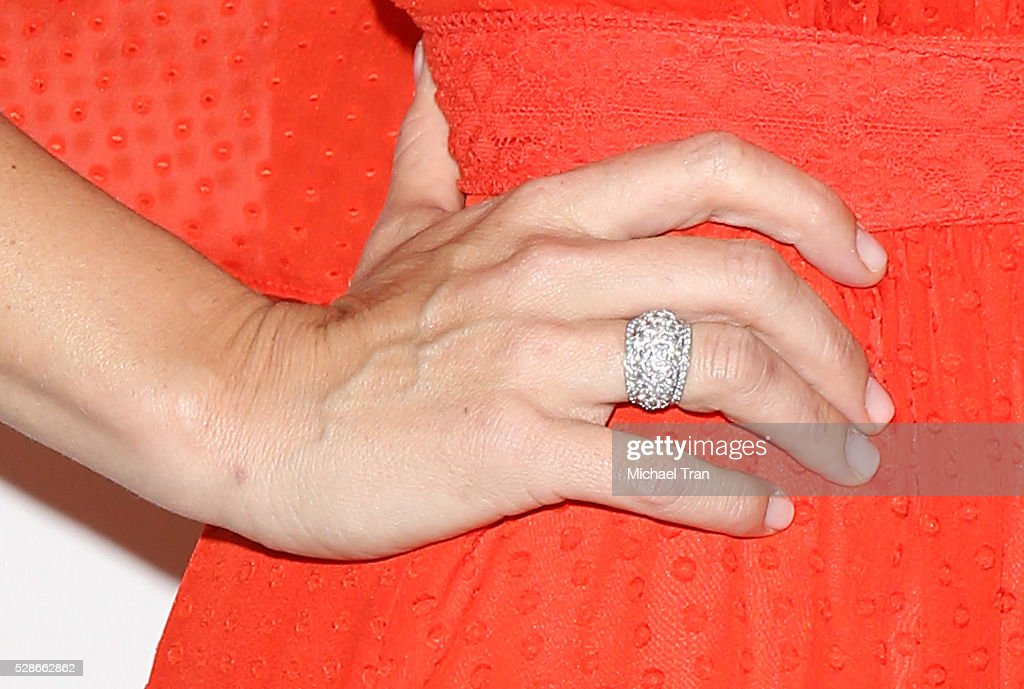 Molly Sims, ring detail, arrives at The Helping Hand of Los Angeles' 87th Anniversary Mother's Day luncheon held at the Beverly Wilshire Four Seasons Hotel on May 6, 2016 in Beverly Hills, California.