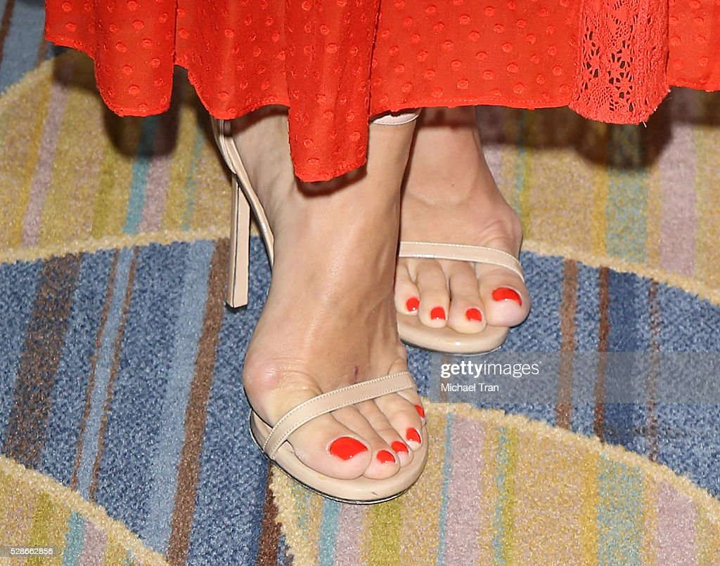 Molly Sims, shoe and nail polish detail, arrives at The Helping Hand of Los Angeles' 87th Anniversary Mother's Day luncheon held at the Beverly Wilshire Four Seasons Hotel on May 6, 2016 in Beverly Hills, California.