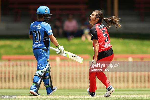 'SYDNEY AUSTRALIA DECEMBER 10 Molly Strano of the Renegades celebrates taking the wicket of Tammy Beaumont of the Strikers during the Women's Big...