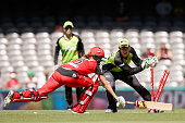 Molly Strano of the Renegades is run out during the Women's Big Bash League match between the Melbourne Renegades and the Sydney Thunder at Etihad...