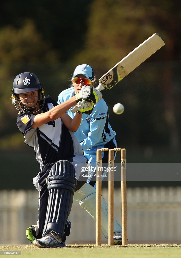 Molly Strano of the Spirit plays a shot during the Women's Twenty20 match between the Victoria Spirit and the New South Wales Breakers at Junction Oval on January 4, 2013 in Melbourne, Australia.