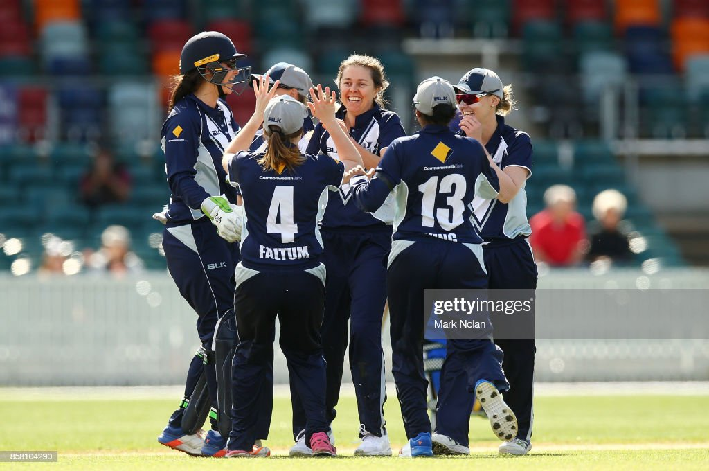 Molly Strano of Victoria celebrates a wicket during the WNCL match between ACT and Victoria at Manuka Oval on October 6, 2017 in Canberra, Australia.