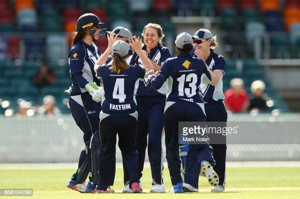 Molly Strano of Victoria celebrates a wicket during the WNCL match between ACT and Victoria at Manuka Oval on October 6 2017 in Canberra Australia
