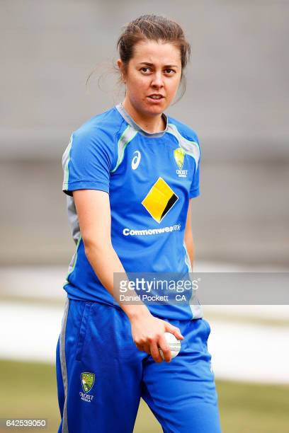 Molly Strano prepares to bowl during a Southern Stars training session at Melbourne Cricket Ground on February 18 2017 in Melbourne Australia
